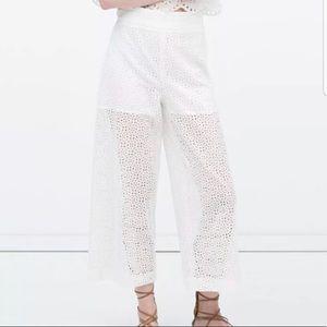 Zara Eyelet Lace Wide Leg Crop Pants